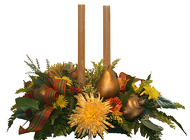 Bronze harvest centerpiece from The Posie Shoppe in Prineville, OR
