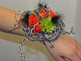 Bright and funky wristlet corsage from The Posie Shoppe in Prineville, OR