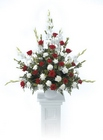 Red and white traditional arrangement from The Posie Shoppe in Prineville, OR