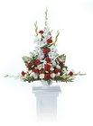 Traditional red and white sympathy arrangement from The Posie Shoppe in Prineville, OR