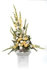 Yellow and white basket arrangement from The Posie Shoppe in Prineville, OR