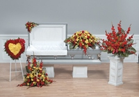 Red and yellow sympathy collection from The Posie Shoppe in Prineville, OR