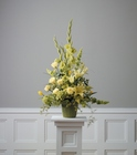Arrangement in greens and yellows from The Posie Shoppe in Prineville, OR