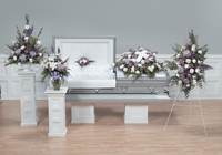 Lavender and white sympathy collection from The Posie Shoppe in Prineville, OR