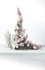 Pink and white memorial arrangement from The Posie Shoppe in Prineville, OR