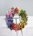 Standing color block wreath from The Posie Shoppe in Prineville, OR