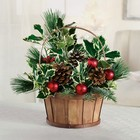 Evergreen holly basket from The Posie Shoppe in Prineville, OR