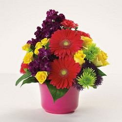 Bowl of bright wishes bouquet from The Posie Shoppe in Prineville, OR