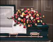 Rose Garden casket spray from The Posie Shoppe in Prineville, OR