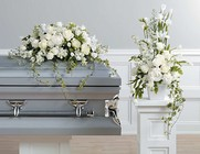 All white Casket spray and Sympathy arrangement from The Posie Shoppe in Prineville, OR