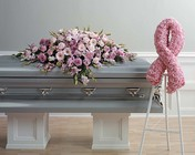 Pink casket spray from The Posie Shoppe in Prineville, OR