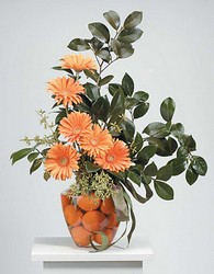 Orange gerberas and tangerines from The Posie Shoppe in Prineville, OR