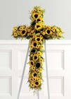 Yellow sunflower cross on easel from The Posie Shoppe in Prineville, OR