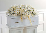 Daisy infant casket spray from The Posie Shoppe in Prineville, OR